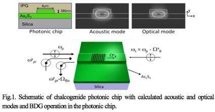 Schematic of chalcogenide photonic chip with calculated acoustic and optical modes and BDG operation
