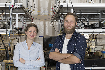 Birgit Stiller and Moritz Merklein inside the University of Sydney Nanoscience Hub