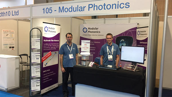 Dr Nicolas Riesen and Dr Simon Gross launching new Modular Photonics technology at the ECOC