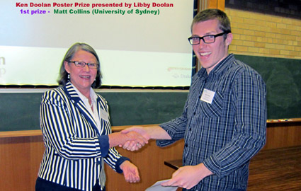 Matt Collins accepting 1st prize from Libby Doolan