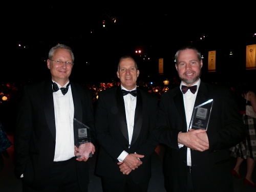 David Moss, Dr Michael Spence and Pr Ben Eggleton with their awards